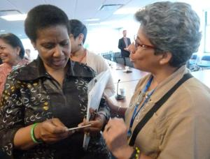 Yolanda speeking with Ms. Phumzile Mlambo-Ngcuka