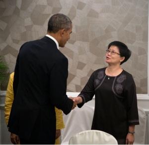 President Obama and Theresa Symons